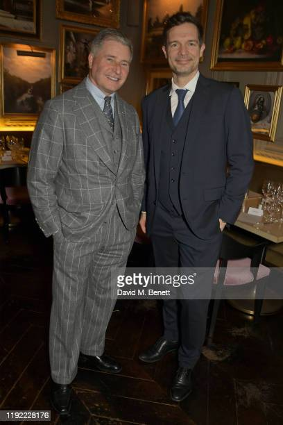 Jeremy Hackett and Chris Meyer attend the British GQ dinner cohosted by Dylan Jones Jack Guinness in partnership with JPHackett No14 Savile Row...