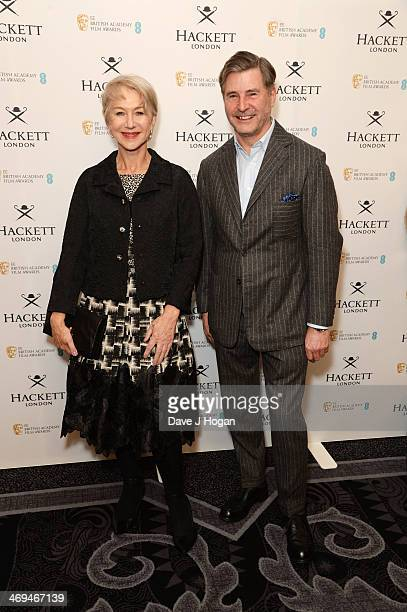 Jeremy Hackett and Dame Helen Mirren attend the Hackett BAFTA Fellow Lunch at The Savoy on February 15 2014 in London England