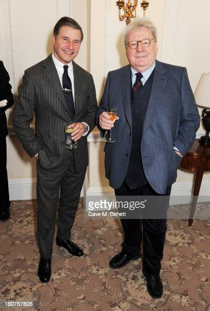 Jeremy Hackett and Sir Alan Parker attend a drinks reception awarding Sir Alan Parker the BAFTA Fellowship supported by Hackett at The Savoy Hotel on...