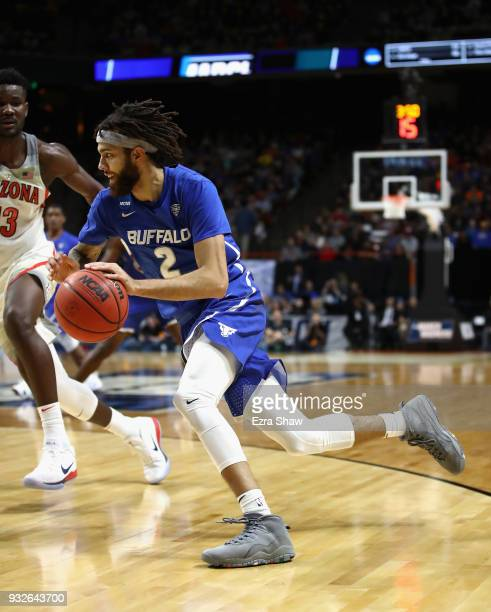 Jeremy Harris of the Buffalo Bulls dribbles in the second half against the Arizona Wildcats during the first round of the 2018 NCAA Men's Basketball...