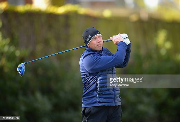 Jeremy Harrold of Perton Park Golf Club plays his first shot on the 1st tee during the PGA Professional Championship Midland Qualifier at Little...