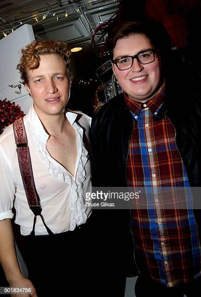 Jeremy Hays as 'Rauol' and Jeremy Stolle as 'the Phantom' and The 2015 winner of NBC's 'The Voice' Jordan Smith pose backstage at the hit musical '...