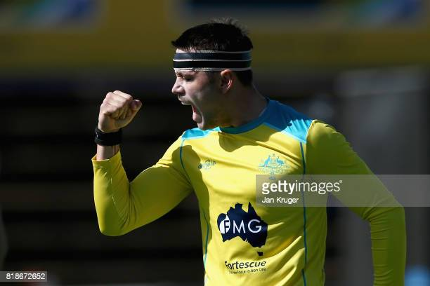 Jeremy Hayward of Australia celebrates scoring his sides first goal during the Quarter match between Australia and Egypt during Day 6 of the FIH...