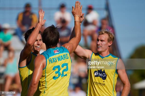 Jeremy Hayward of the Kookaburras celebrates a goal during the International Test match between the Australian Kookaburras and Netherlands at...