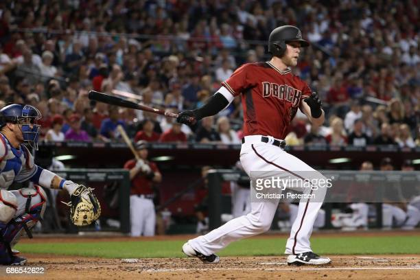 Jeremy Hazelbaker of the Arizona Diamondbacks bats against the Los Angeles Dodgers during the MLB game at Chase Field on April 23 2017 in Phoenix...