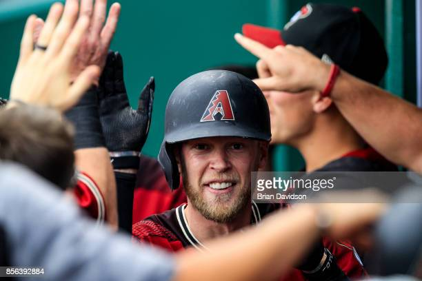 Jeremy Hazelbaker of the Arizona Diamondbacks celebrates hitting a threerunhomerun against the Kansas City Royals during the fifth inning at Kauffman...