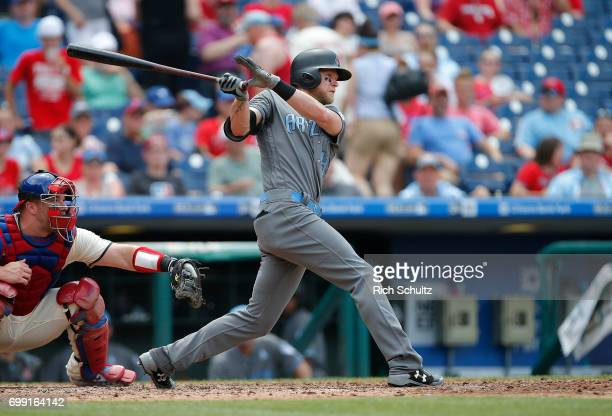 Jeremy Hazelbaker of the Arizona Diamondbacks in action against the Philadelphia Phillies during a game at Citizens Bank Park on June 18 2017 in...