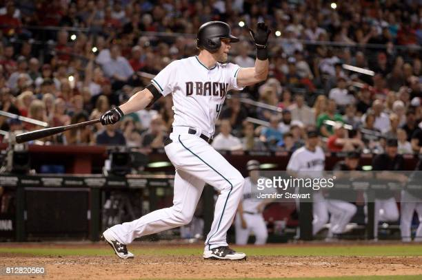 Jeremy Hazelbaker of the Arizona Diamondbacks in action against the Philadelphia Phillies at Chase Field on June 23 2017 in Phoenix Arizona The...
