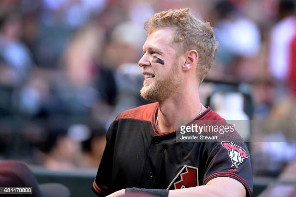 Jeremy Hazelbaker of the Arizona Diamondbacks looks up to the stands during the MLB game against the Cleveland Indians at Chase Field on April 8 2017...