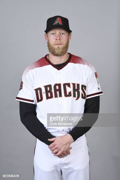 Jeremy Hazelbaker of the Arizona Diamondbacks poses during Photo Day on Tuesday February 20 2018 at Salt River Fields at Talking Stick in Scottsdale...