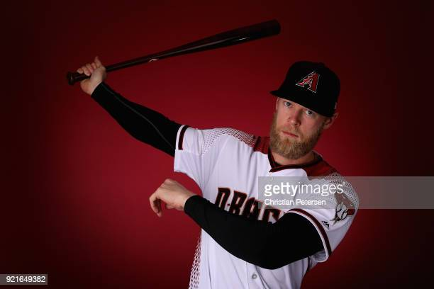 Jeremy Hazelbaker of the Arizona Diamondbacks poses for a portrait during photo day at Salt River Fields at Talking Stick on February 20 2018 in...