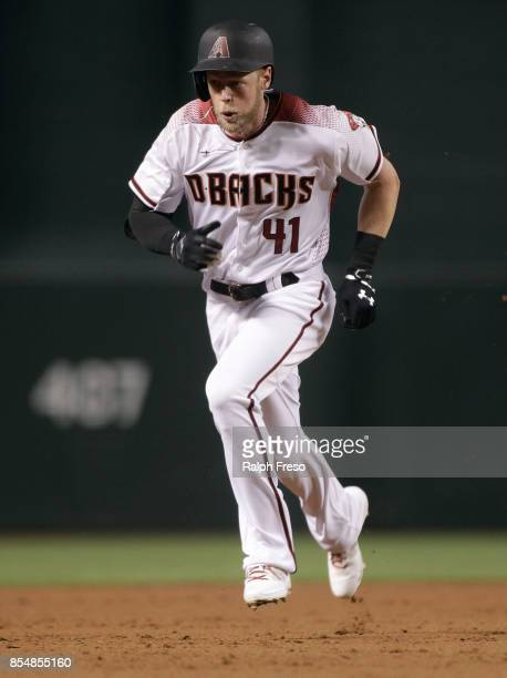 Jeremy Hazelbaker of the Arizona Diamondbacks runs to third base on a triple against the San Francisco Giants during the second inning of a MLB game...