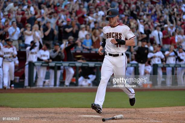 Jeremy Hazelbaker of the Arizona Diamondbacks scores in the ninth inning against the San Francisco Giants at Chase Field on Sunday April 2 2017 in...