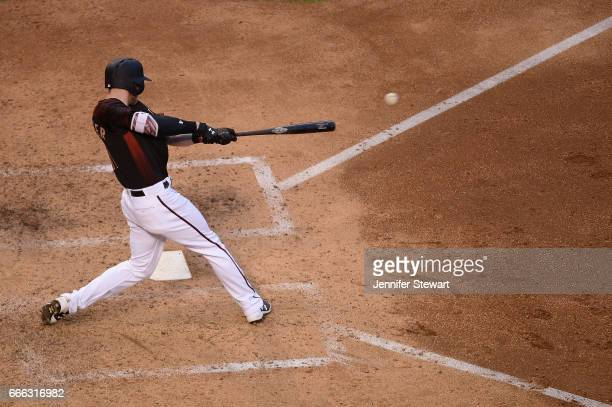 Jeremy Hazelbaker of the Arizona Diamondbacks singles in the fifth inning against the Cleveland Indians at Chase Field on April 8 2017 in Phoenix...