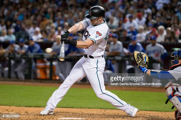Jeremy Hazelbaker of the Arizona Diamondbacks swings at a pitch at Chase Field on April 21 2017 in Phoenix Arizona