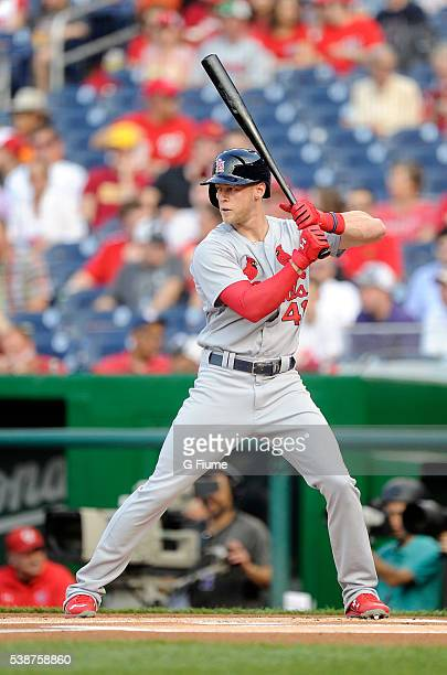 Jeremy Hazelbaker of the St Louis Cardinals bats against the Washington Nationals at Nationals Park on May 26 2016 in Washington DC