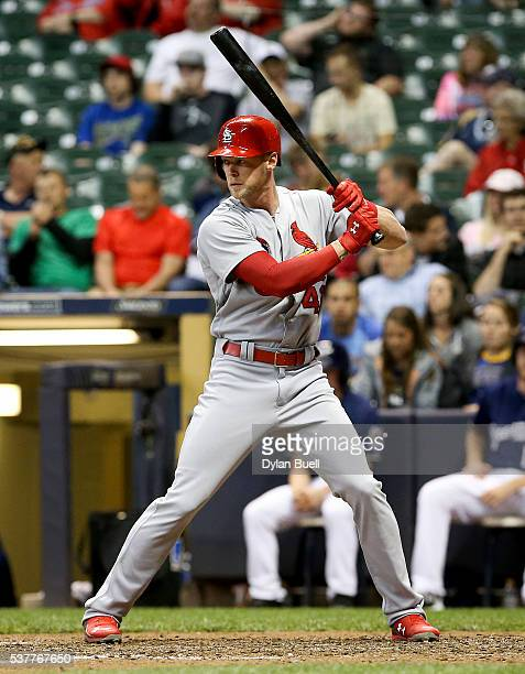 Jeremy Hazelbaker of the St Louis Cardinals bats against the Milwaukee Brewers at Miller Park on May 31 2016 in Milwaukee Wisconsin