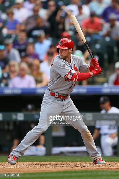 Jeremy Hazelbaker of the St Louis Cardinals bats against the Colorado Rockies at Coors Field on September 21 2016 in Denver Colorado
