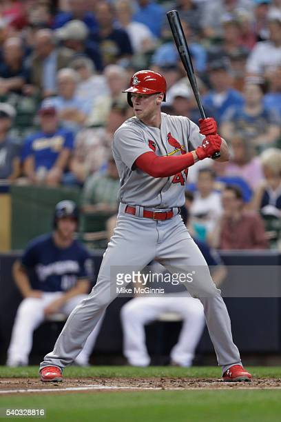 Jeremy Hazelbaker of the St Louis Cardinals gets ready for the next pitch during the game against the Milwaukee Brewers at Miller Park on June 01...