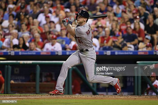 Jeremy Hazelbaker of the St Louis Cardinals hits a tworun home run in the third inning during a game against the Philadelphia Phillies at Citizens...