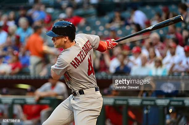 Jeremy Hazelbaker of the St Louis Cardinals hits the ball against the Arizona Diamondbacks at Chase Field on April 26 2016 in Phoenix Arizona The St...