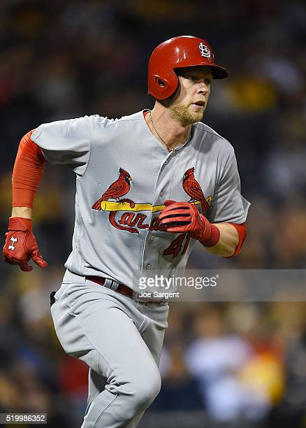 Jeremy Hazelbaker of the St Louis Cardinals runs to first base during the game against the Pittsburgh Pirates on April 6 2016 at PNC Park in...