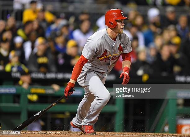 Jeremy Hazelbaker of the St Louis Cardinals watches his first career home run during the sixth inning against the Pittsburgh Pirates on April 6 2016...