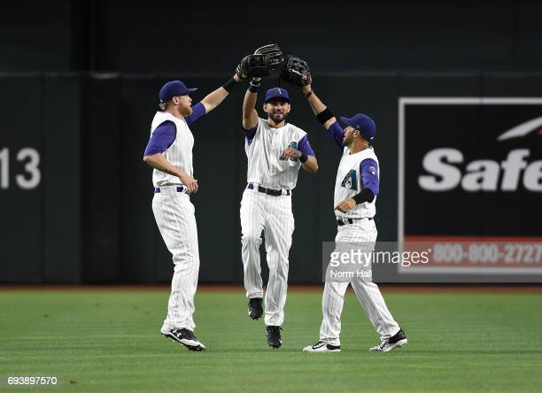 Jeremy Hazelbaker Rey Fuentes and Gregor Blanco of the Arizona Diamondbacks celebrate a 153 win against the San Diego Padres at Chase Field on June 8...