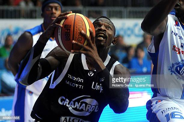 Jeremy Hazell of Granarolo competes with Cheikh Mbodj of Acqua Vitasnella looks over during the LegaBasket Serie A1 match between Acqua Vitasnella...
