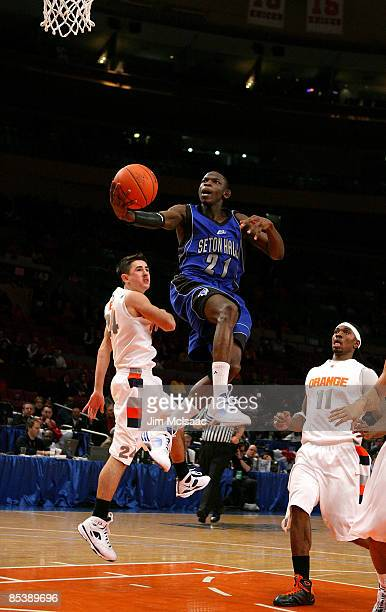 Jeremy Hazell of the Seton Hall Pirates drives to the hoop against the Syracuse Orange during the second round of the Big East Tournament at Madison...