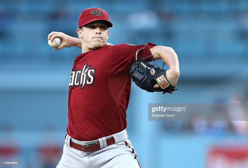 Jeremy Hellickson #58 of the Arizona Diamondbacks tthrows a pitch against the Los Angeles Dodgers at Dodger Stadium on June 10, 2015 in Los Angeles, California.