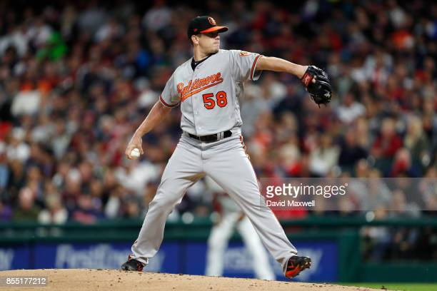 Jeremy Hellickson of the Baltimore Orioles pitches against the Cleveland Indians in the first inning at Progressive Field on September 10 2017 in...