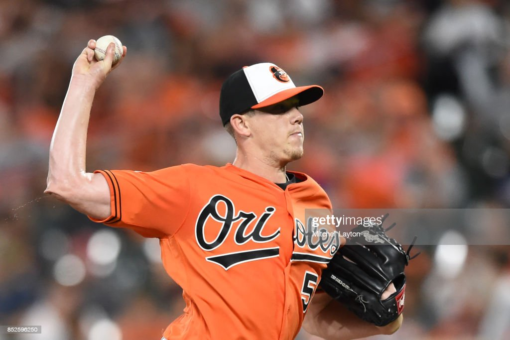 Jeremy Hellickson #58 of the Baltimore Orioles pitches in the first inning during a baseball game against the Tampa Bay Rays at Oriole Park at Camden Yards on September 23, 2017 in Baltimore, Maryland.