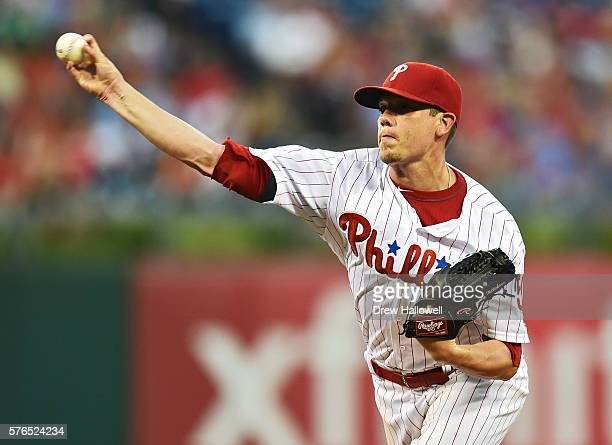 Jeremy Hellickson of the Philadelphia Phillies delivers a pitch in the fifth inning against the New York Mets at Citizens Bank Park on July 15 2016...