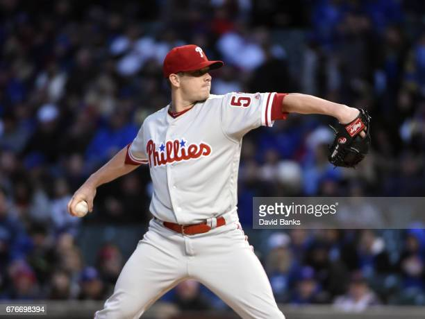 Jeremy Hellickson of the Philadelphia Phillies pitches against the Chicago Cubs during the first inning on May 2 2017 at Wrigley Field in Chicago...