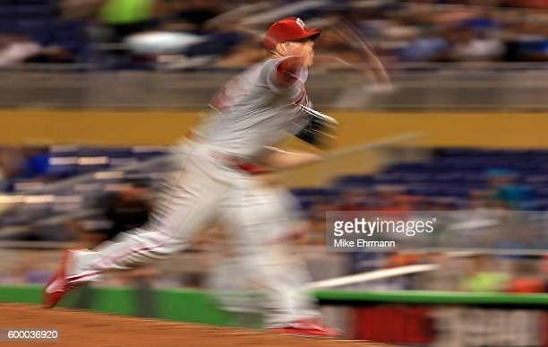 Jeremy Hellickson of the Philadelphia Phillies pitches during a game against the Miami Marlins at Marlins Park on September 7 2016 in Miami Florida