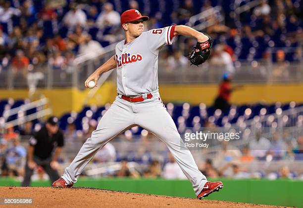 Jeremy Hellickson of the Philadelphia Phillies pitches during the game against the Miami Marlins at Marlins Park on July 25 2016 in Miami Florida