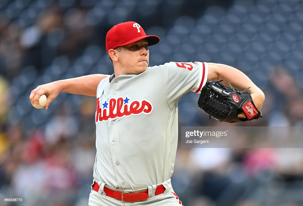 Jeremy Hellickson #58 of the Philadelphia Phillies pitches during the first inning against the Pittsburgh Pirates at PNC Park on May 19, 2017 in Pittsburgh, Pennsylvania.