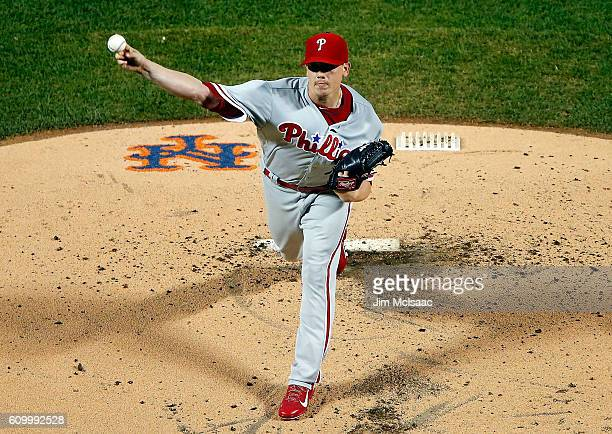 Jeremy Hellickson of the Philadelphia Phillies pitches in the first inning against the New York Mets at Citi Field on September 23 2016 in the...