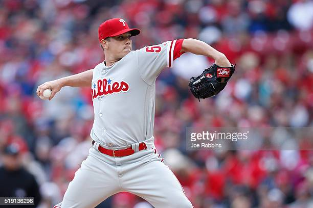 Jeremy Hellickson of the Philadelphia Phillies pitches in the second inning of the opening day game against the Cincinnati Reds at Great American...
