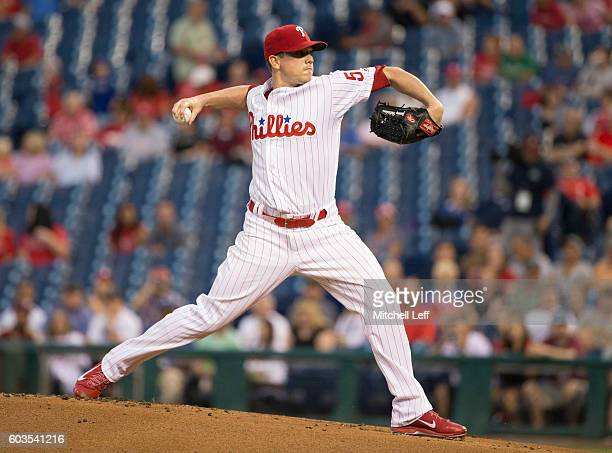 Jeremy Hellickson of the Philadelphia Phillies throws a pitch in the top of the first inning against the Pittsburgh Pirates at Citizens Bank Park on...