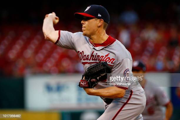 Jeremy Hellickson of the Washington Nationals delivers a pitch against the St Louis Cardinals in the first inning at Busch Stadium on August 15 2018...