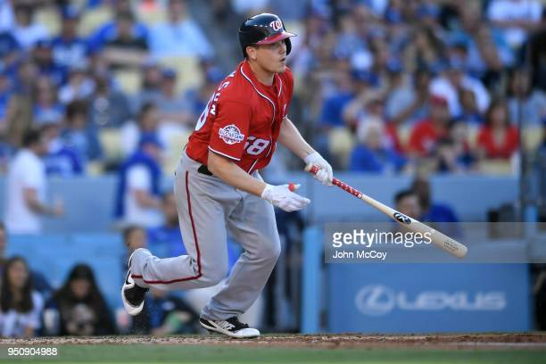 Jeremy Hellickson of the Washington Nationals grounds out in the second inning against the Los Angeles Dodgers at Dodger Stadium on April 22 2018 in...