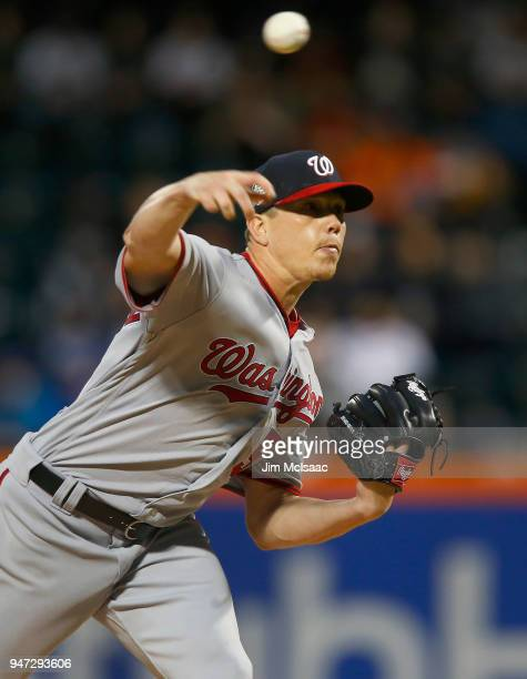 Jeremy Hellickson of the Washington Nationals in action against the New York Mets at Citi Field on April 16 2018 in the Flushing neighborhood of the...