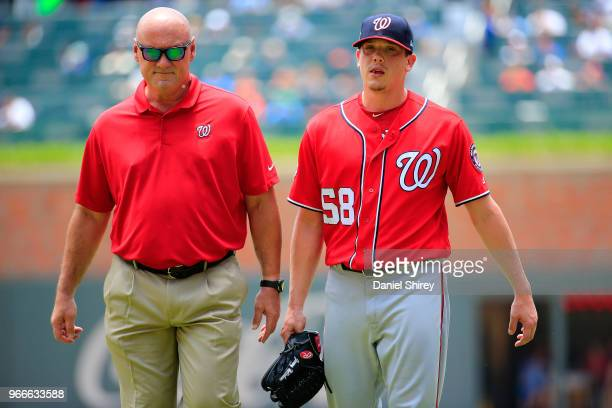 Jeremy Hellickson of the Washington Nationals leaves the game after an injury during the first inning against the Atlanta Braves at SunTrust Park on...