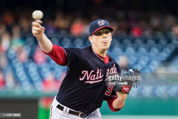 Jeremy Hellickson of the Washington Nationals pitches against the New York Mets during the first inning at Nationals Park on May 14 2019 in...