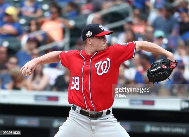 Kelvin Herrera of the Washington Nationals pitches against the New York Mets in the ninth inning during their game at Citi Field on July 15 2018 in...