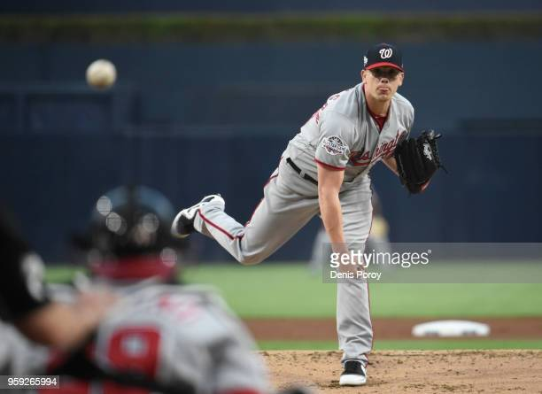 Jeremy Hellickson of the Washington Nationals pitches during a baseball game against San Diego Padres at PETCO Park on May 8 2018 in San Diego...