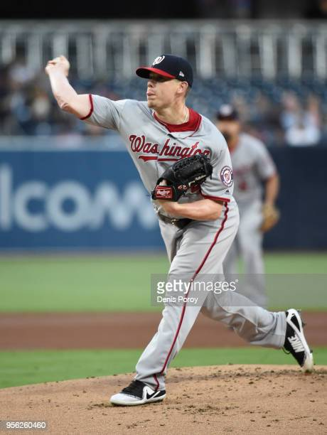 Jeremy Hellickson of the Washington Nationals pitches during the first inning of a baseball game against San Diego Padres at PETCO Park on May 8 2018...