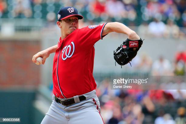 Jeremy Hellickson of the Washington Nationals pitches during the first inning against the Atlanta Braves at SunTrust Park on June 3 2018 in Atlanta...